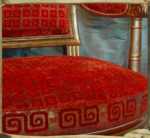 JARDIN A LA FRANCAISE and GREEK KEY border gaufraged on silk velvet with gold, on armchair form Chateau des Tuilleries, Galleries Gismondi, Paris.