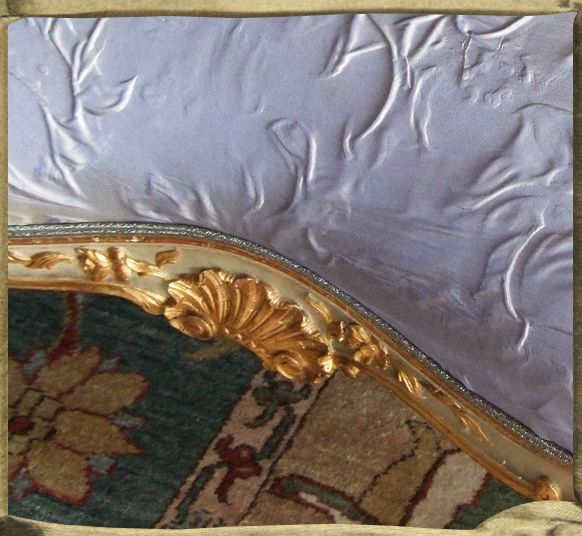 ANNAM reliefed silk Pompadour taffeta in Blue Brown.