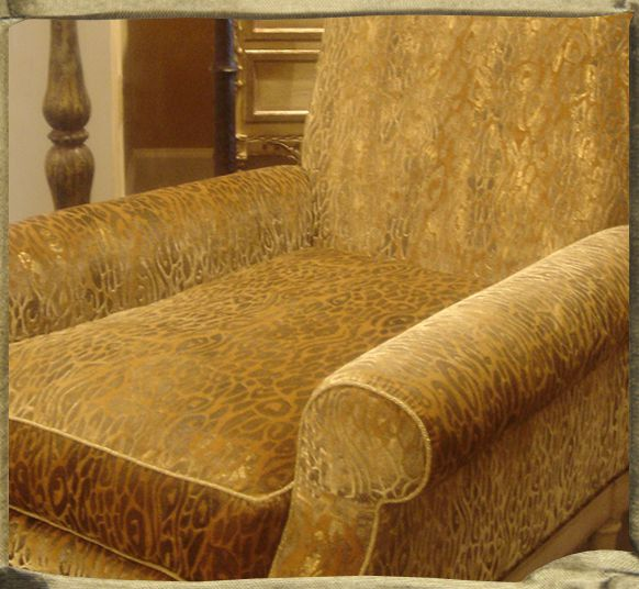 EUCALYPTUS LEOPARD gaufraged on Sahrah velvet with browns and golds on Hendrix and Allardyce armchair.
