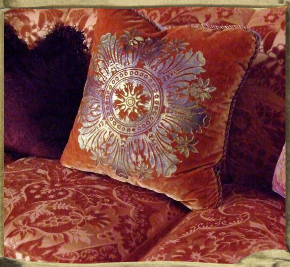 ROSACE cushions in Music room, interior by Ann Getty.
