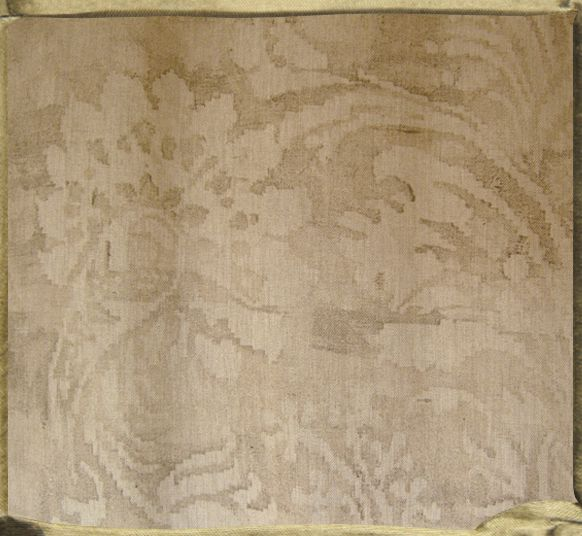 FONTAINEBLEAU watermark in natural Chekov linen, close up.