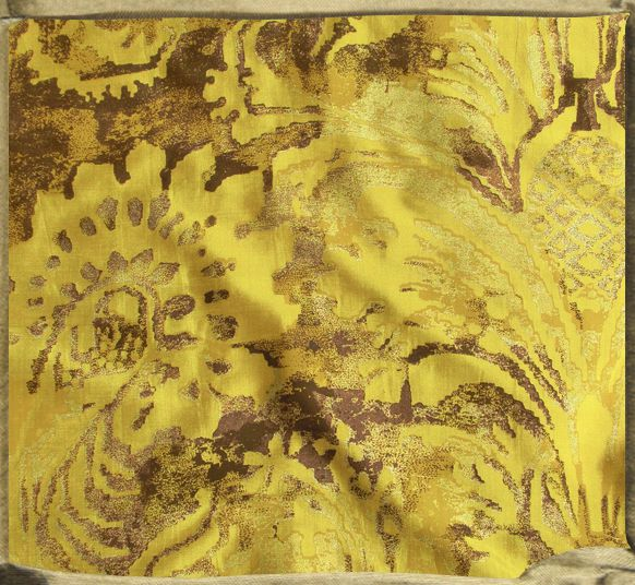 FONTAINEBLEAU flat printed silk in mustard, browns and gold.