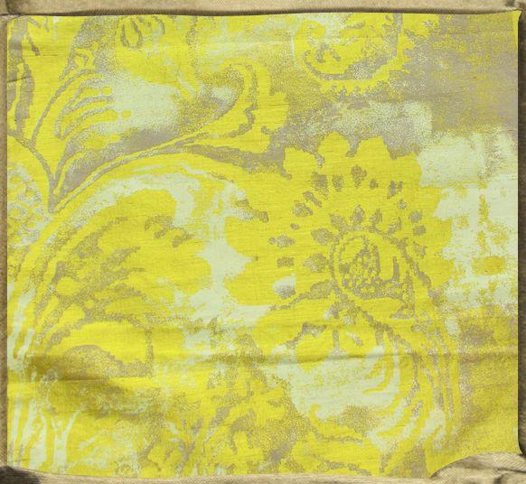 FONTAINEBLEAU flat printed silk on acid yellow with chalky whites and lilac-grey.