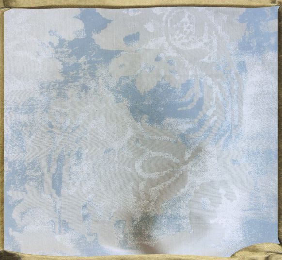 FONTAINEBLEAU flat printed silk in grey ecru silk with chalky white and blue.
