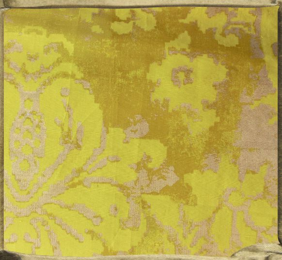 FONTAINEBLEAU flat printed silk in acid yellow and gold.