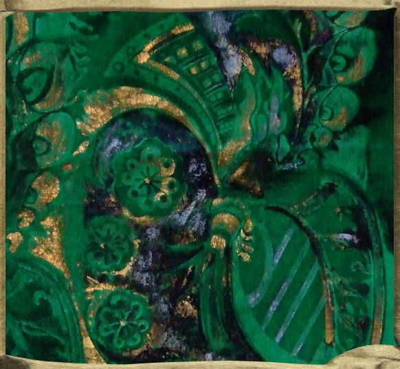 TANGO encrusted with gold and iridescent blue on emerald silk velvet.  A design inspired form a tango by Piazzola.